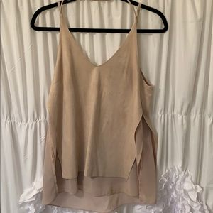 Taupe Chiffon & Suede Tbank